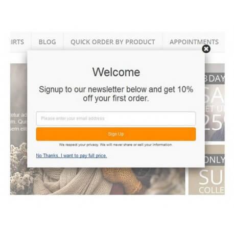Newsletter Subscription Popup with Voucher Code Prestashop Module