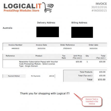 Invoice Text by Customer Group Module